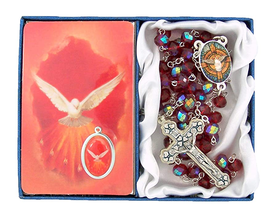 Catholic Confirmation Gift Set Red Acrylic Bead Rosary and Prayer Card with Medal, 20 Inch
