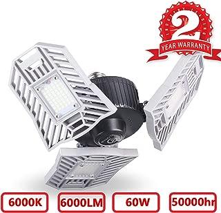 LED Garage Lights, 60W LED Garage Lighting, E26/E27 6000LM High Bay Deformable LED Garage Ceiling Lights, Adjustable Trilights Garage Light, 6000K Daylight LED Shop Lights for Garage Basement Workshop