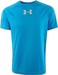 تي شيرت رجالي رياضي من Under Armour مطبوع عليه HeatGear مضاد للرائحة ومضاد للتعرق أزرق