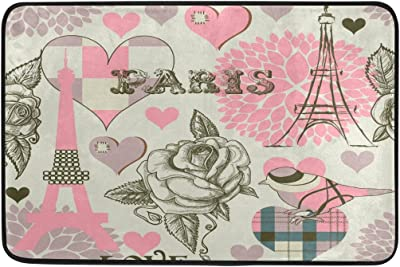 MASSIKOA Vintage Paris Eiffel Tower Bird Flower Love Non Slip Backing Entrance Doormat Floor Mat Rug Indoor Outdoor Front Door Bathroom Mats, 23.6 x 15.7 inches