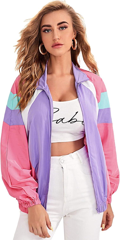 SweatyRocks Women's Casual Lightweight Color Block Bomber Jacket