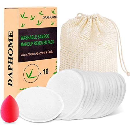 DAPHOME Discos Desmaquillantes Reutilizables Ecologicos Algodones Desmaquillantes Reutilizables Toallitas Desmaquillantes Bastoncillos Ecologicos(16 Piezas)+Bolsa de algodóng+Esponja Maquillaje