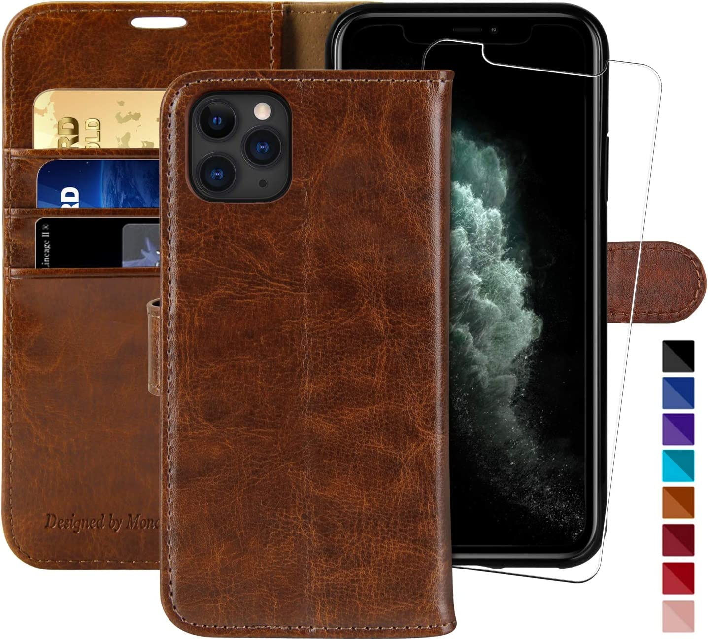MONASAY Wallet Case for iPhone 12 Pro Max 5G,6.7-inch,[Glass Screen Protector Included] [RFID Blocking] Flip Folio Leather Cell Phone Cover with Credit Card Holder