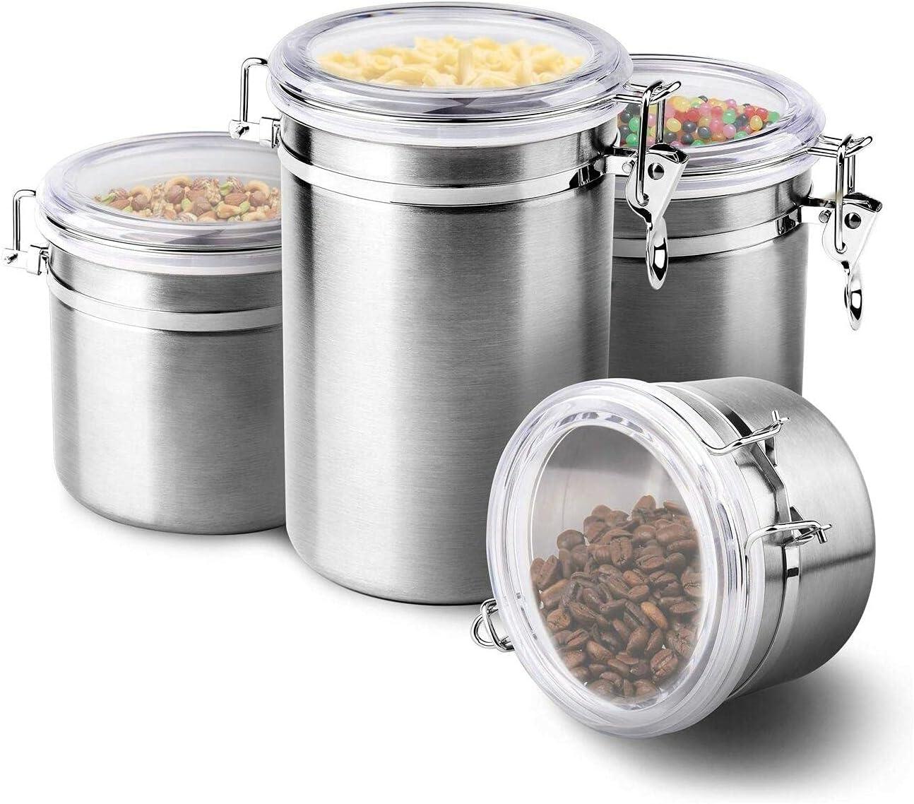 Regular dealer 4-Piece Stainless Steel Airtight Canister Cont Storage Food Set Popular popular