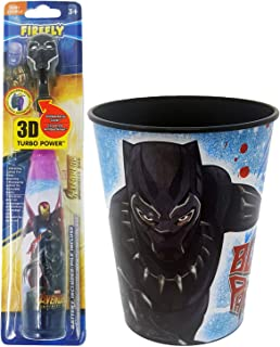 Black Panther Toothbrush Set: 2 Items - Turbo Powered Toothbrush, Kid's Character Rinse Cup