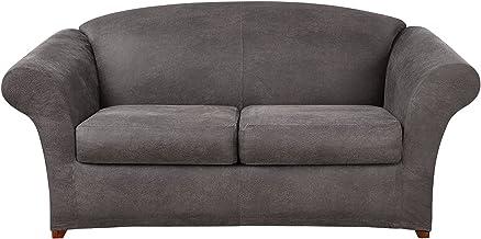 SureFit Ultimate المصنوعة من الجلد القابل للتمدد - غطاء سرير للأريكة - لون رمادي عتيق (SF44053)