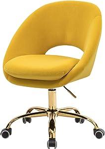Velvet Swivel Vantity Chair with Wheels - Yellow