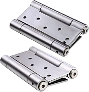 Ranbo 304 Stainless Steel Ball Bearing Heavy Duty Double Action Spring Loaded Door Swing gate Hinge for Saloon Western Bar Pub Swinging Café Doors(1 Pair) Thickness:3 mm (3 inch)
