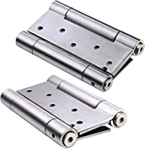 Ranbo 304 Stainless Steel Ball Bearing Heavy Duty Double Action Spring Loaded Door Swing Hinge,Automatic Closing/self Closer/Adjustable Tension Brushed Chrome(Pack of 2) Thickness 3 mm (4 inch)