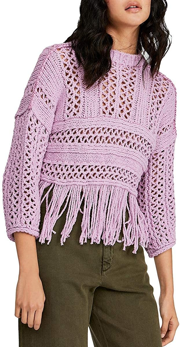Free People Womens Higher Love Fringe Oversized Pullover Sweater