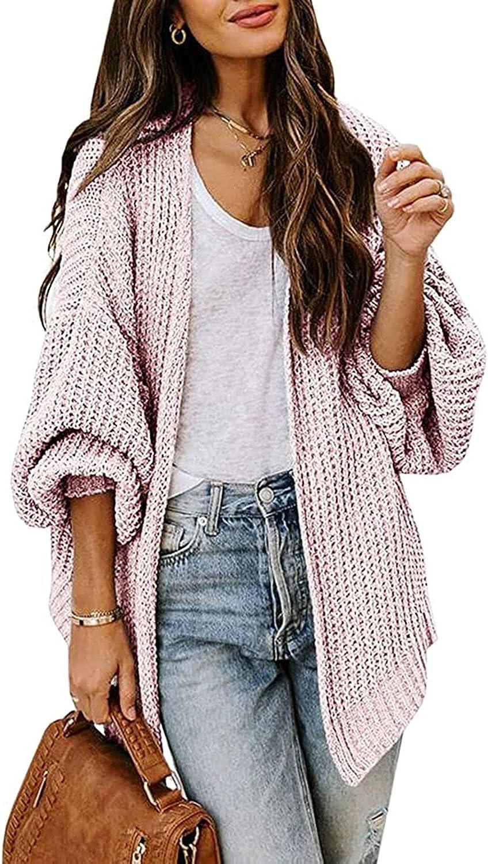 TOLENY Women's Open Front Oversized Cardigan Chunky Knitted Long Batwing Sleeve Kimono Cardigan Coat