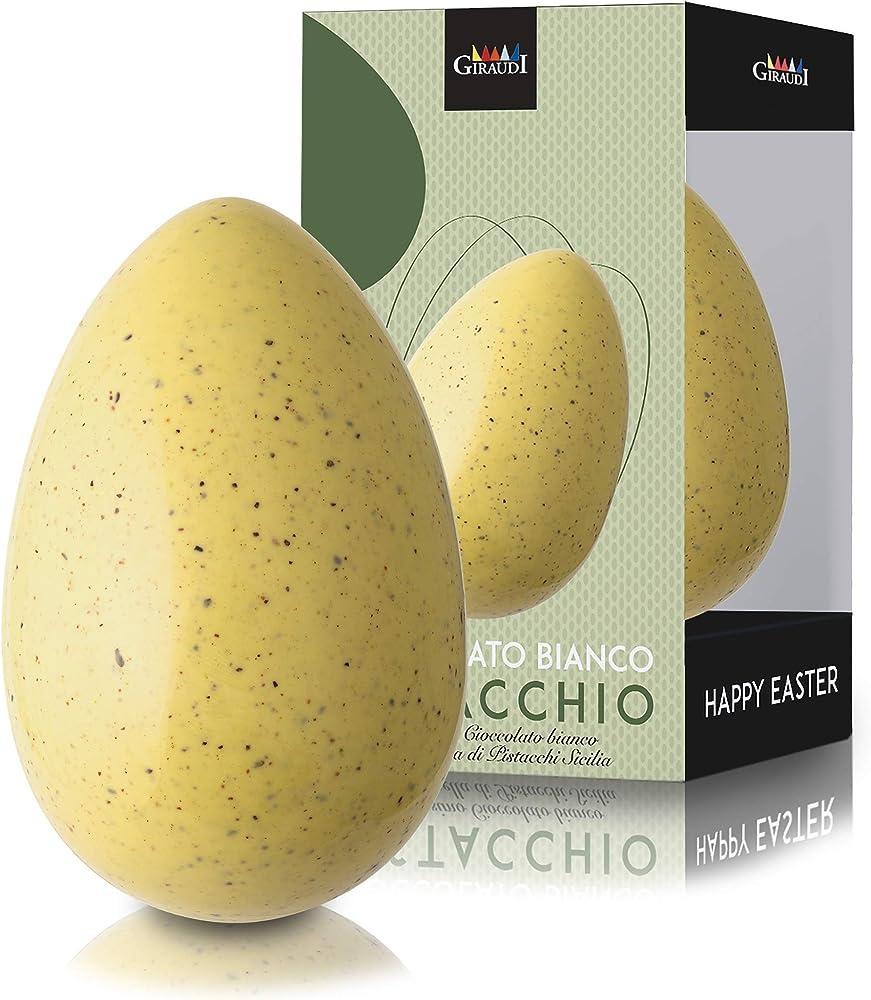 Giraudi,uovo di pasqua ``atzeco``, uovo artigianale di cioccolato bianco al pistacchio, senza glutine, 200 gr GIUO6822519