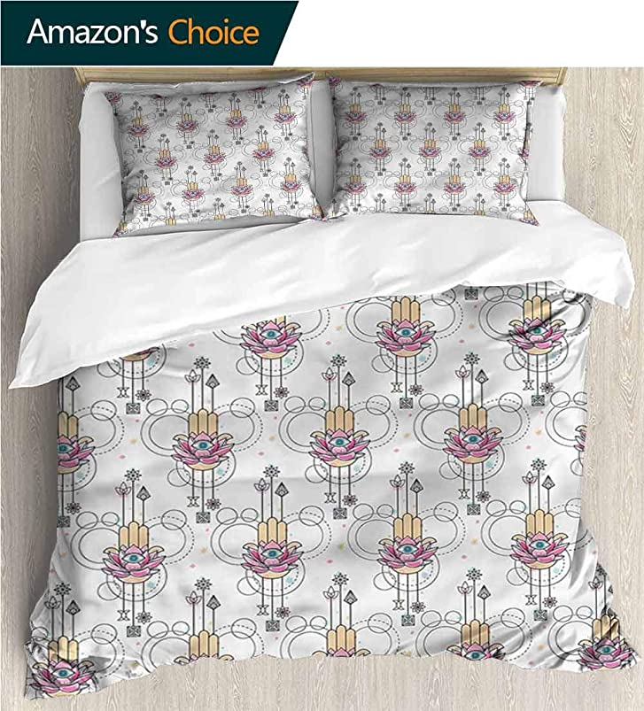 VROSELV-HOME 3 Piece Quilt Coverlet Bedspread,Box Stitched,Soft,Breathable,Hypoallergenic,Fade Resistant All Season Lightweight Colorblock Kids Bedding Set-Hamsa All Seeing Eye (104