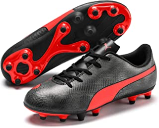 PUMA Unisex Rapido FG Jr Black-Nrgy Red Ag Aged Silver Football Shoes-5 UK (38 EU) (6 Kids US) (10480906)