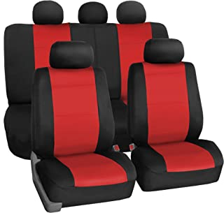 FH Group FB083RED115 Full Set Seat Cover (Neoprene Waterproof Airbag Compatible and Split Bench Red)