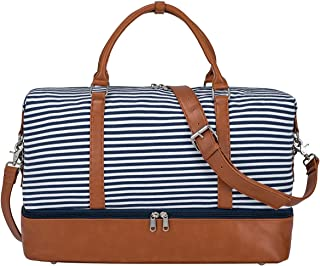 Women Canvas Weekender Bag Overnight Carryon Duffel Tote PU Leather Strap