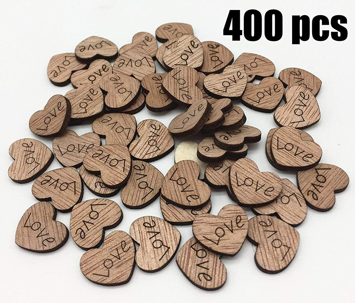 COOLJOY 400 Pcs Rustic Wooden Love Heart Table Scatter for Wedding Decorations, Perfect for Rustic Wedding Planning,Marriage,Bridal Showers,and DIY Crafts