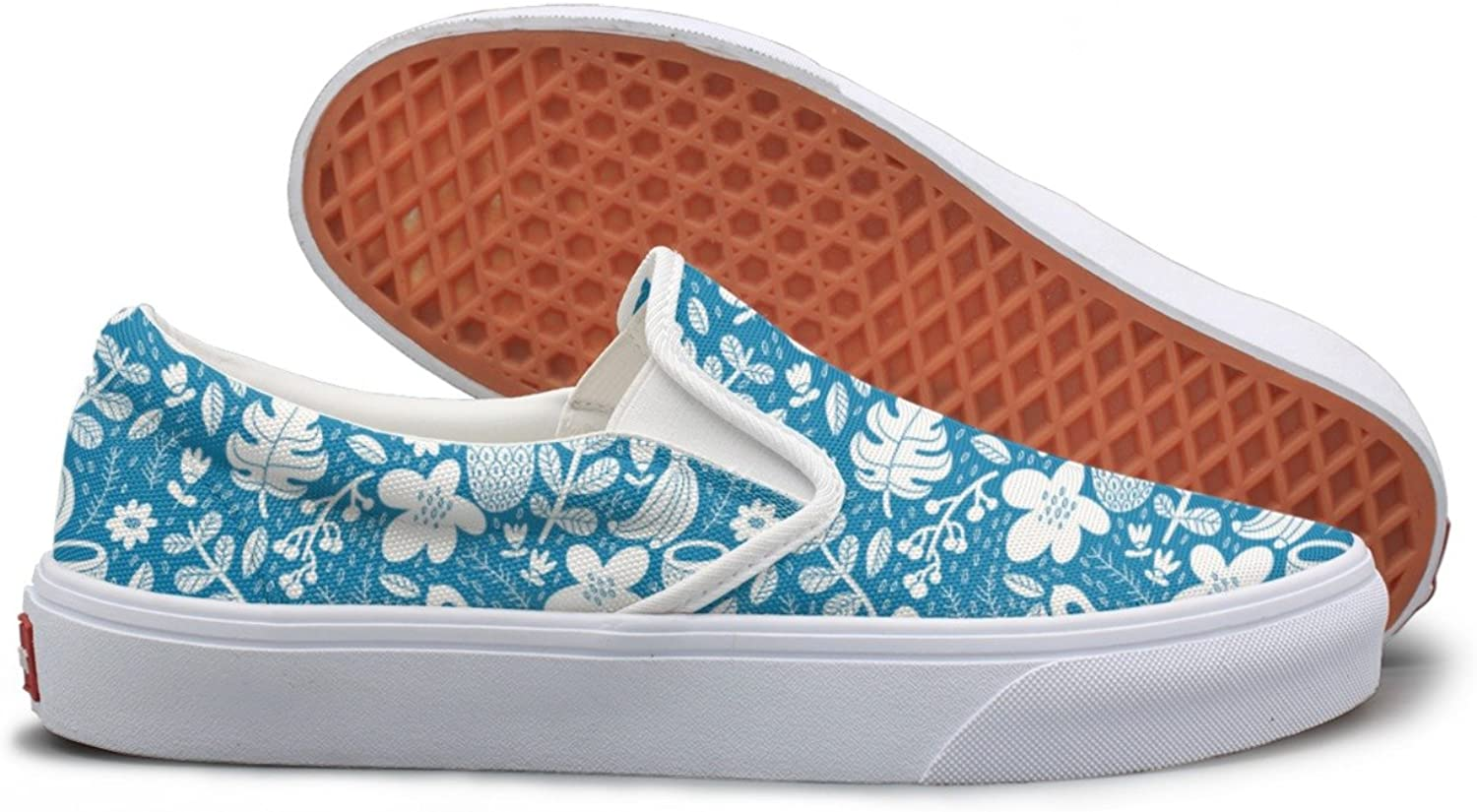 SEERTED bluee Tropical Fruit Trees Comfortable Sneakers for Women Wide Width