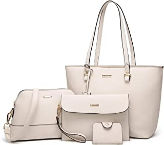 f71904b243 ELIMPAUL Women Fashion Handbags Tote Bag Shoulder Bag Top Handle Satchel  Purse Set 4pcs
