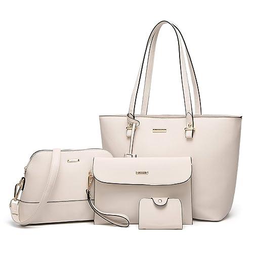 a62c63b6c7d8 ELIMPAUL Women Fashion Handbags Tote Bag Shoulder Bag Top Handle Satchel  Purse Set 4pcs