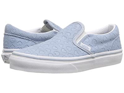 Vans Kids Classic Slip-On (Little Kid/Big Kid) ((Hearts) Blue Fog/True White) Girls Shoes