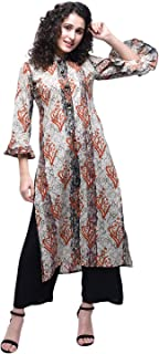 Zoeyams Womens Multicolored Cotton Printed Long Straight Kurti With Cotton Palazzo
