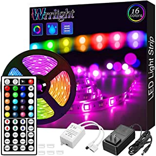 Led Strip Lights, Waterproof 16.4ft 5m Flexible Led Lights Color Changing RGB SMD 5050 150leds LED Strip Light Kit with 44 Keys IR Remote Controller and 12V Power Supply for Home, Bedroom, Kitchen