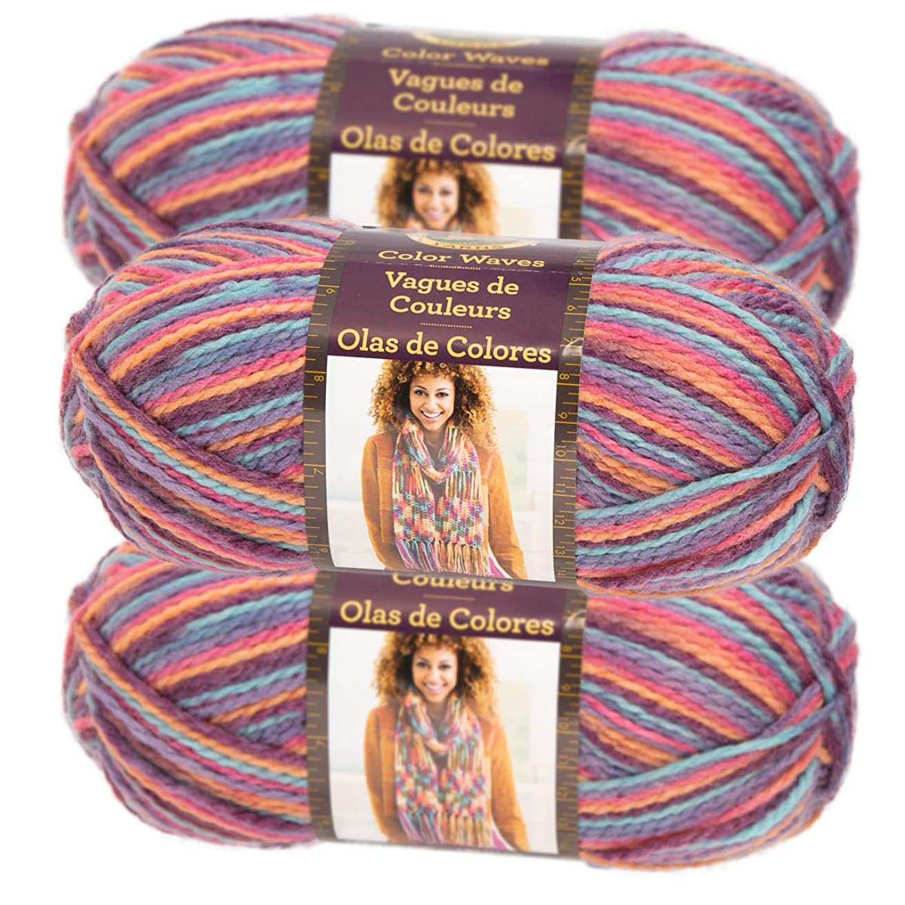 Lion Brand Yarn (3 Pack) Color Waves Acrylic & Wool Yarn Light #3 Soft Yarn for Knitting Crocheting