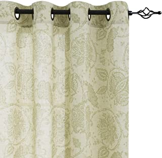 jinchan Floral Scroll Printed Linen Curtains, Grommet Top - Ikat Flax Textured Medallion Design Jacobean Curtains Retro Bedroom Window Treatments (Sage, 50-inch x 84-inch, One Pair)