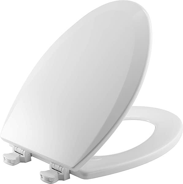 BEMIS 1500EC 000 Toilet Seat With Easy Clean Change Hinges ELONGATED Durable Enameled Wood White