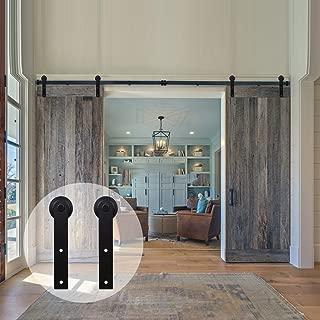 WINSOON Sliding Barn Door Hardware Double Door 18ft Track Kit for Interior Exterior Kitchen Cabinet Hallway