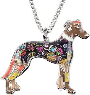 BONSNY Love Pets Enamel Zinc Alloy Metal Greyhound Necklace Dog Animal Jewelry Pendant Unique Design 18