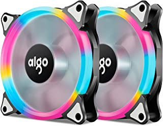 Aigo, Pack of 2 Rianbow  120mm LED Ring FanCase Fan Silent Sleeve Bearing PC Cooling Neon Quite Clear Case Fan Cooling Cooler Mod 4 Pin/3 Pin for Computer Cases