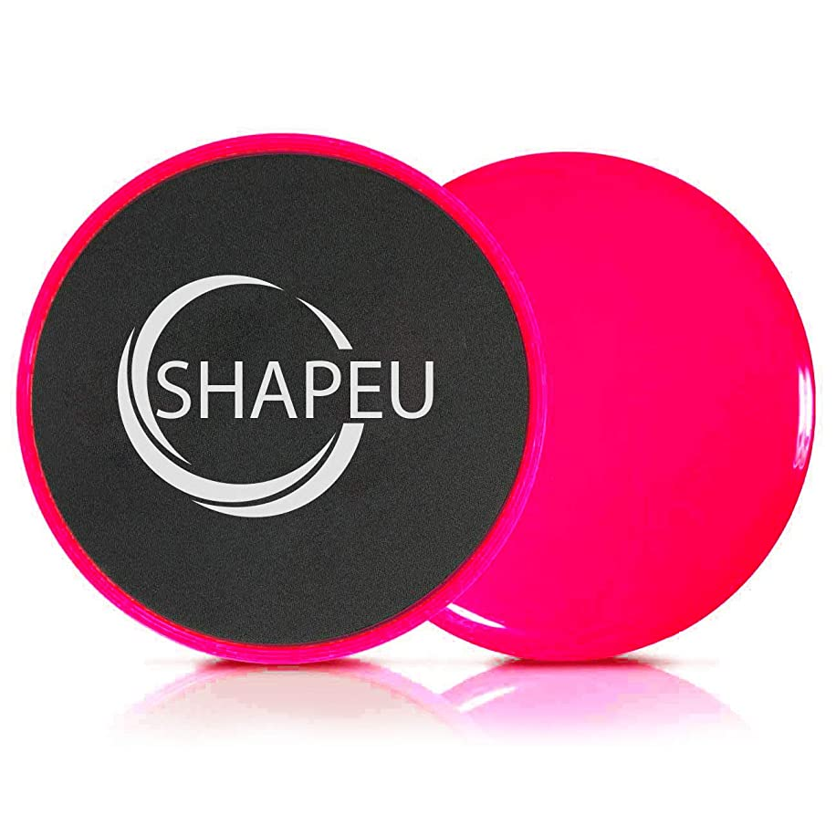 SHAPEU Glide Discs - Dual Sided Core Gliders for Carpet or Hardwood Floors. Abdominal Exercise Equipment with Training Guide Plus Bonus Digital Workouts