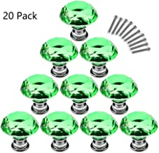 Magik 20Pcs Crystal Glass Cabinet Knob Diamond Shape 30mm Drawer Cupboard Handle Pull (Green)