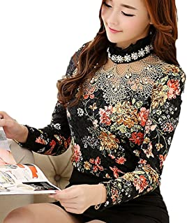 215c363ebd8 SansoiSan Women Winter Hollow Out Floral Print Lace Long Sleeve Elegant Blouse  Plus Size