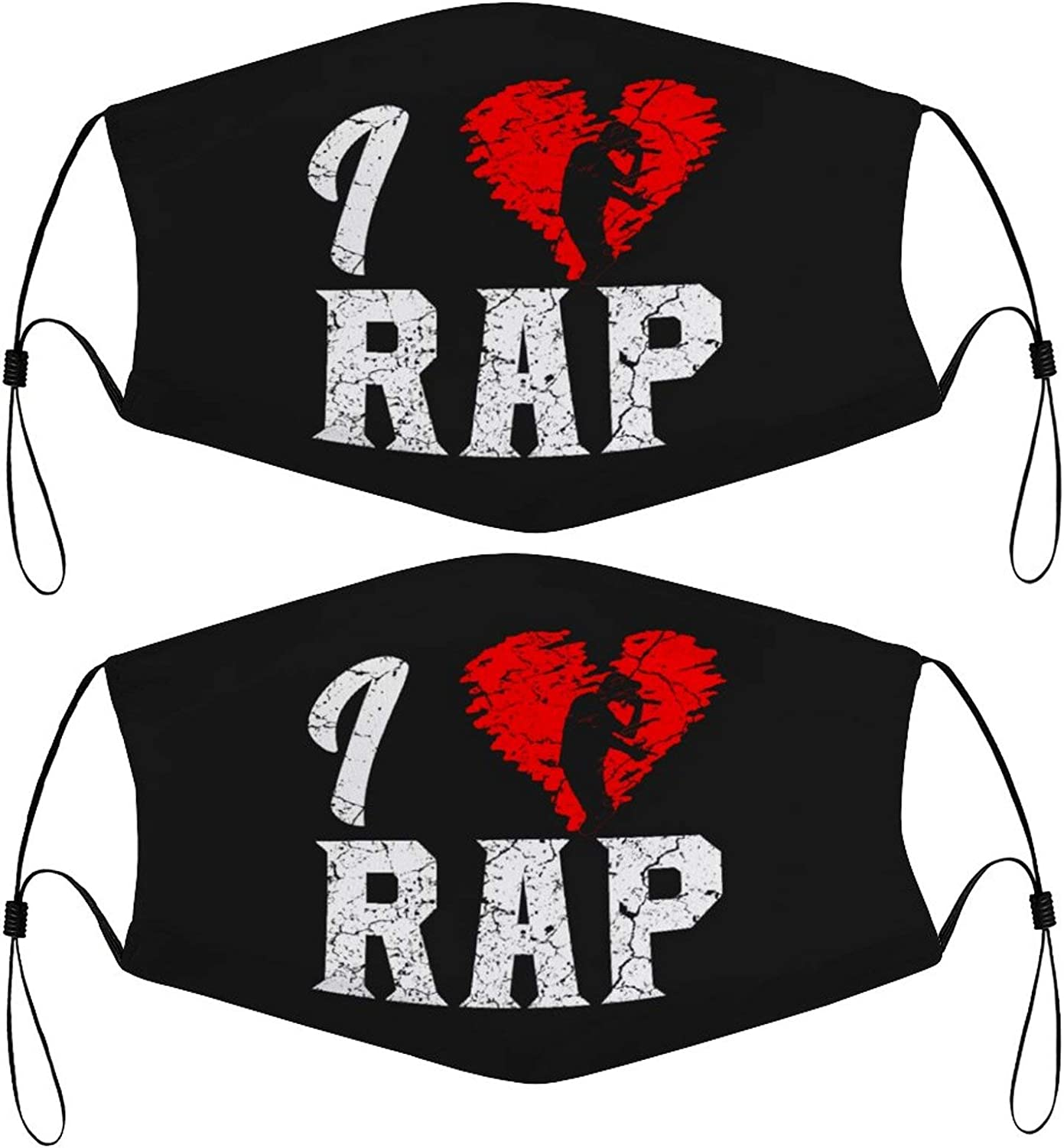 Love Rap Kids Face Masks Set of 2 with 4 Filters Washable Reusable Breathable Black Cloth Bandanas Scarf for Unisex Boys Girls