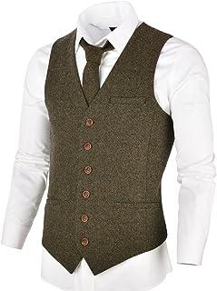 ad05277753f VOBOOM Men s Slim Fit Herringbone Tweed Suits Vest Premium Wool Blend  Waistcoat