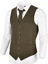 VOBOOM Men`s Slim Fit Herringbone Tweed Suits Vest Premium Wool Blend Waistcoat