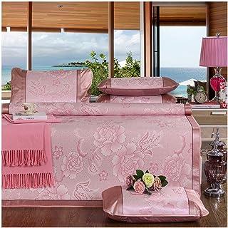 YONGYONG Ice-mat Kit De Esterilla De Flores De Peonía Estera De Seda De Hielo Estera Plegable De Moda Estera Antideslizante De Viscosa De Tres Piezas De Salud (Color : Pink, Size : 1.8 * 2.0m)