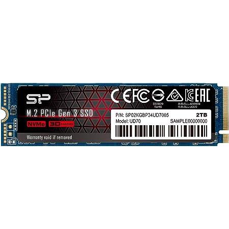 シリコンパワー SSD 2TB M.2 2280 PCIe3.0×4 NVMe1.3 最大読込3400MB/s 5年保証 SP02KGBP34UD7005