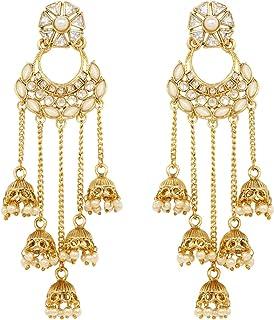 SANARA Exclusive Gold Plated Dangle Drop Jhumki Earrings Traditional Fashionable jewelry