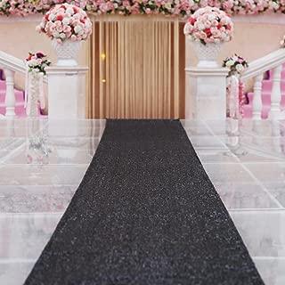 TRLYC Sparkle Carpet Runner Sequin Aisles Runner for Wedding-Black 4ftx16ft