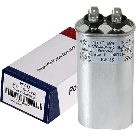 HQRP 10uf 370-440V Capacitor for AC Electric Motor Run Start HVAC Blower Compressor Trane Furnace 10MFD 27L669 97F9002 Jandy Carrier Payne