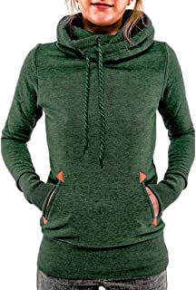 Women's Funnel Neck Hoodie Lightweight Pullover Hooded Sweatshirts, Green, US L=Tag XL