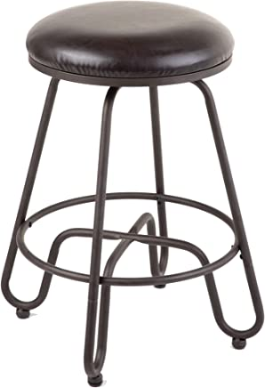 Leggett & Platt Denver Backless Swivel Seat Counter Stool with Umber Finished Metal Frame and Brown Faux Leather Upholstery,  26-Inch Seat Height