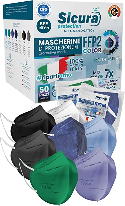 eurocali mascherine ffp2 certificate ce italia colorate filtraggio bfe ?99% mascherina ffp2 mix 7 colori 50 pezzi b08wj93dsp