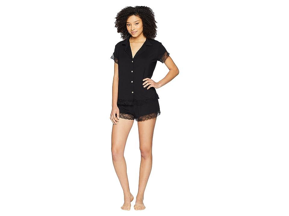 Eberjey Malou Short Sleeve PJ Set (Black) Women