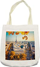 Ambesonne Fall Tote Bag, Aerial View of Eiffel Tower at Sunset Paris France Cityscape Historical Landmark Image, Cloth Linen Reusable Bag for Shopping Books Beach and More, 16.5