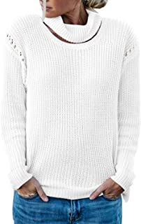 Sovoyontee Women's Cut-Out Crew Neckline Knit Pullover Sweaters